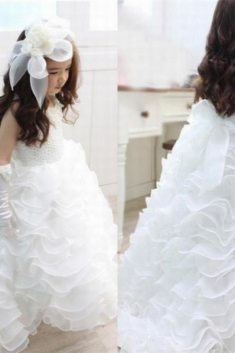 Beautiful princess fashion Organza Tiered Dress Princess Flower Girl Dress