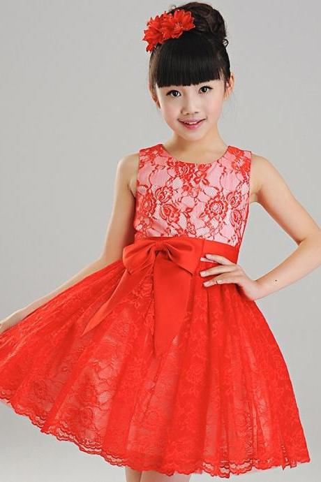 New Beautiful Wedding Bridesmaid Lace Flower Girl Dress