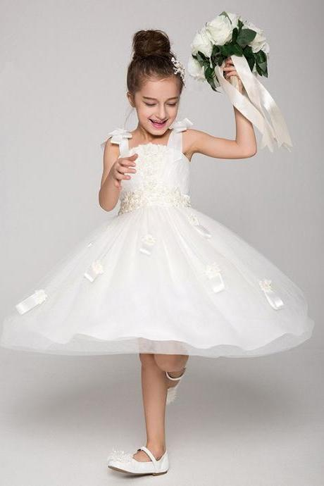 White/Ivory Flower Girl Princess Wedding Formal Party Dress