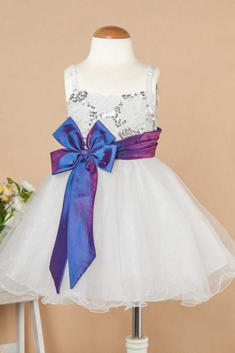 Sparkling Sequins with Butterfly Belt White Flower Girl Dress