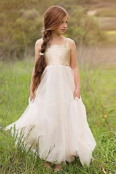 Hot Sale Princess Pageant Sparkling Flower Girl Dress Birthday Party Dress