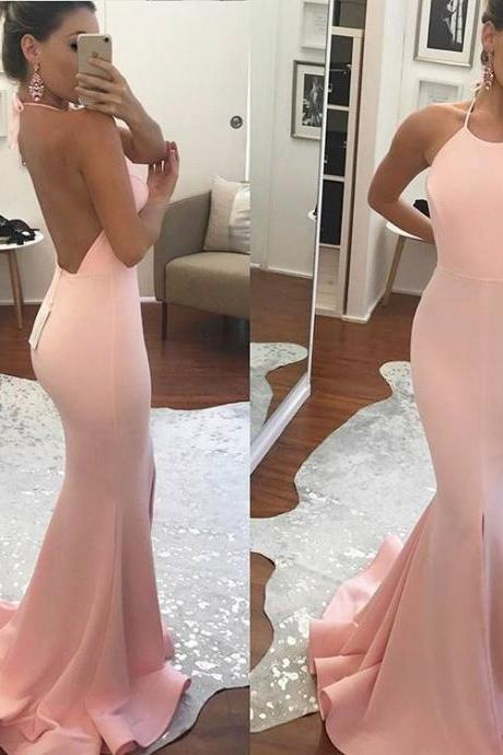 Pink Backless Formal Gown, Halter Mermaid Prom Dress,Long Dress With Slit Evening Dress