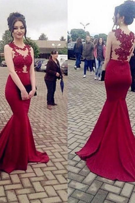 Charming Sleeveless Prom Gowns,Evening Gown,Long Evening Dress,Mermaid Evening Dress,Formal Prom Gowns