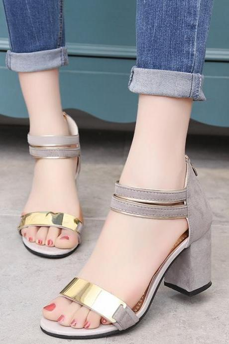 Fashion Frosted Leather Thick Heels High Heel Summer Sandal Zipper Shoes Heighten Shoes NX47