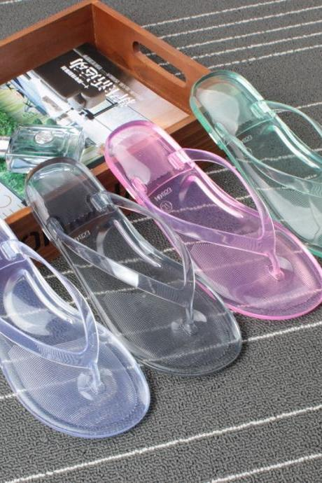 Summer Transparent Flip Flops Flat Sandal Antiskid Wear Resistance Bathroom Shoes Bath Shoes NX64