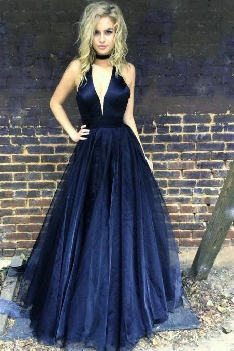 Hot Sale Navy Blue Prom Dress Long Halter Evening Gowns,Fashion Prom Dress,Sexy Party Dress,Custom Made Evening Dress