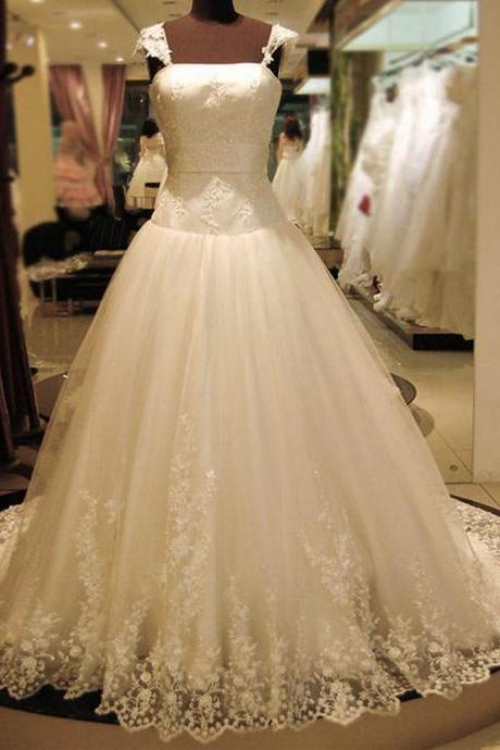HS242 Double Shoulders Wedding Dress Lace Bridal Gown Small Tail Wedding Dress