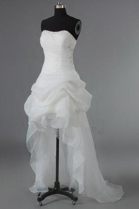 Sweetheart High-Low Wedding Dress Featuring Ruched Bodice and Lace-up Back