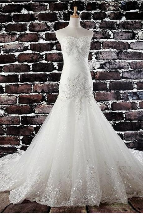 HS258 New Sleeveless Strapless Sweetheart Lace Wedding Dress Mermaid wedding dress Small Tail Wedding Dress