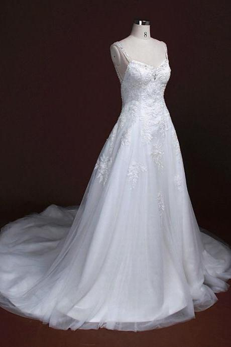 HS291 Double Shoulders Mermaid Wedding Dress Lace Wedding Dress Bridal Gown