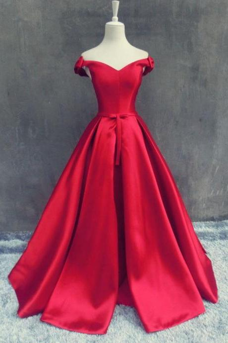 HS325 Beautiful Red V-Neck Sleeveless Soft Satin Prom Dress