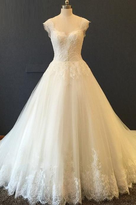 HS482 Popular Both Shoulders Beads Lace Wedding Dress Elegant Bridal Gown