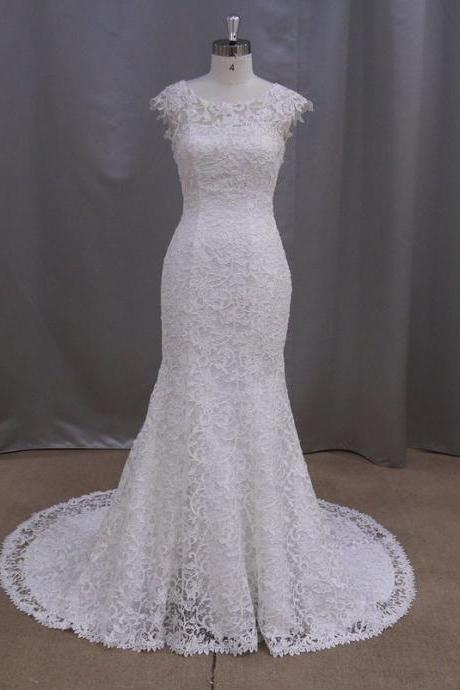 Popular Both Shoulders Spoon Collar Mermaid Lace Wedding Dress HS553