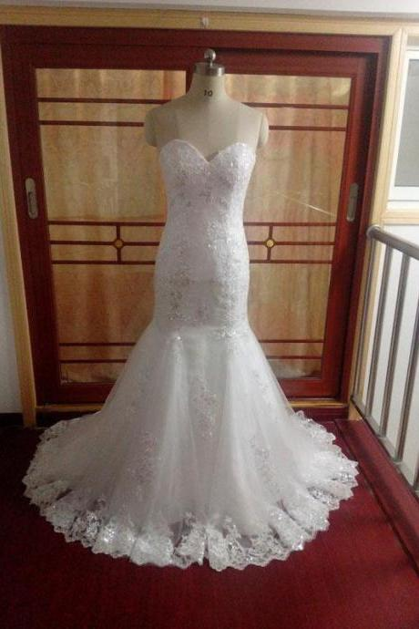 Mermaid Sleeveless Strapless Sweetheart Sequins Lace Wedding Dress HS533