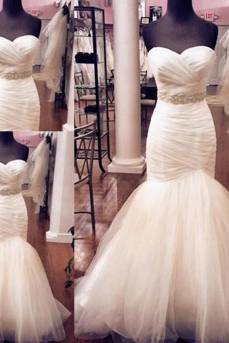 Charming Mermaid Prom Wedding Dress Bridal Dress Romantic Bridal Gown HS570
