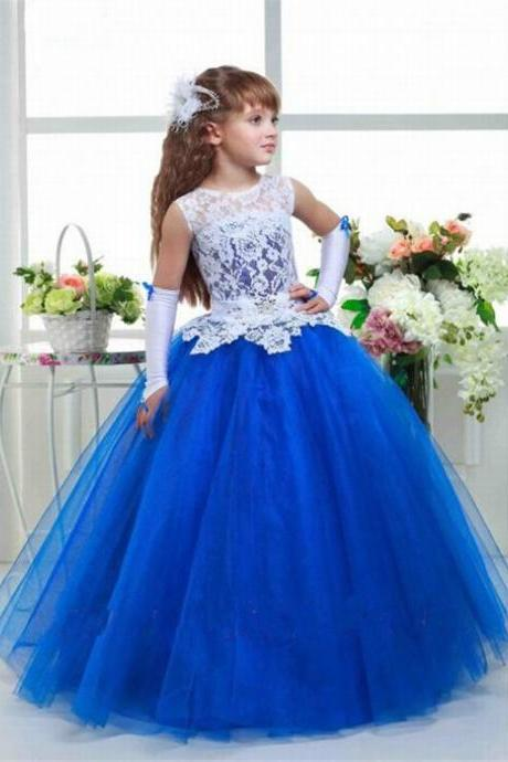 New Charming flower girls white lace dress and blue tulle girl dress