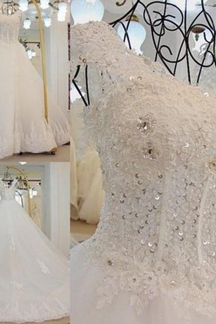 High-quality Lace Beaded Sequins Trailing Wedding Dress, Both Shoulders Spoon Collar Bridal Gown,Gorgeous Wedding Gown,Ball Gown WD10