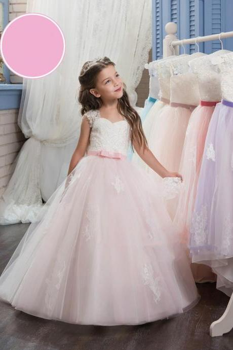 Charming Both Shoulders Flower Girl Dress,Formal Lace Ball Gown Princess Pageant Party Prom Girl Birthday Weddings Childers DressTF31