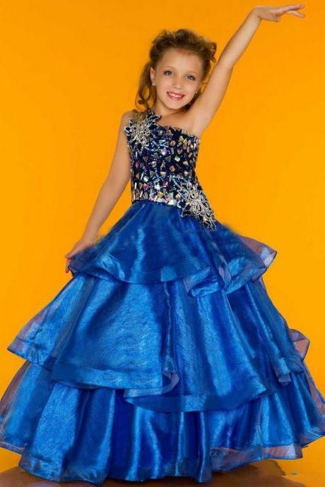 Gorgeous One shoulder Ball Gown,Charming Prom Flower girl dresses,Princess Pageant Party Dress,New Girl Prom Dresses TF57