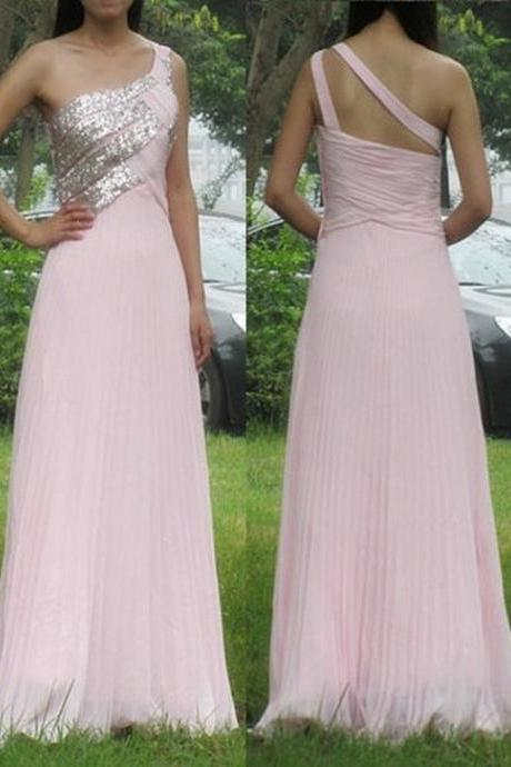 Charming Chiffon Prom Dress,One-Shoulder Prom Dress,Sequined Prom Dress,A-Line Evening Dress