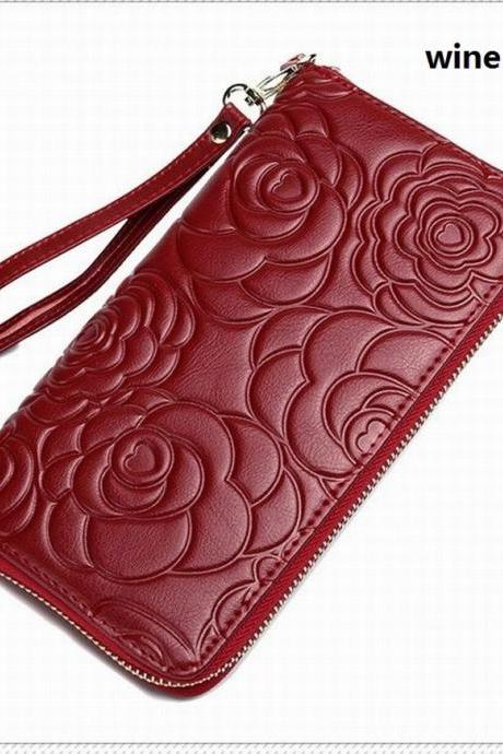 New Fashion Women Plant Flowers Long Genuine Leather Zipper Wallet QB01
