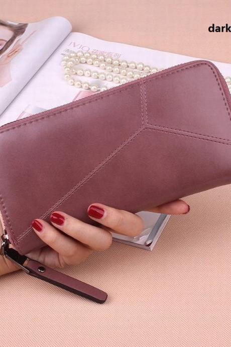 New Fashion Women Long Zipper Solid Color Wallet Mobile Phone Package Card Package QB10
