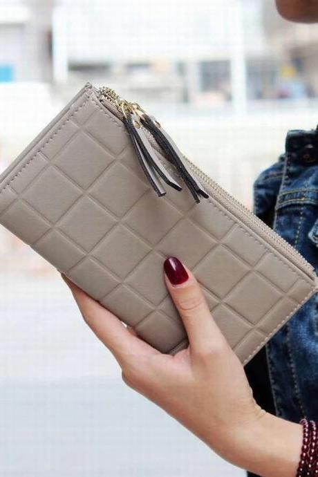 New Fashion Three-dimensional Plaid Two Fold Zipper Lady Long Wallet Clutch Bag QB23