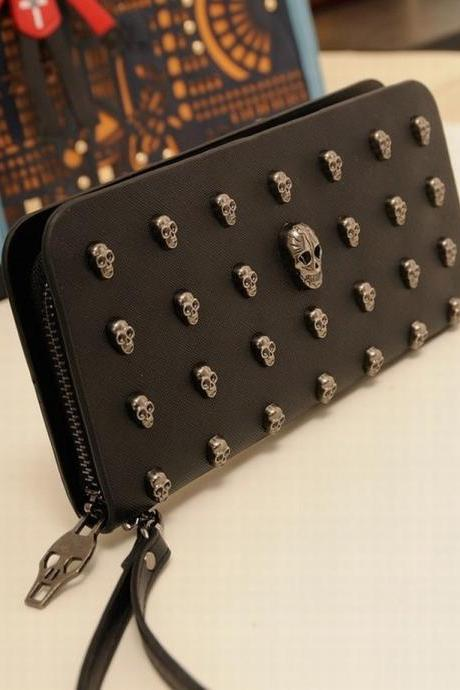 New Fashion Skull Decorate Handbags Women Long Zipper Wallet Black Clutch Bag QB24