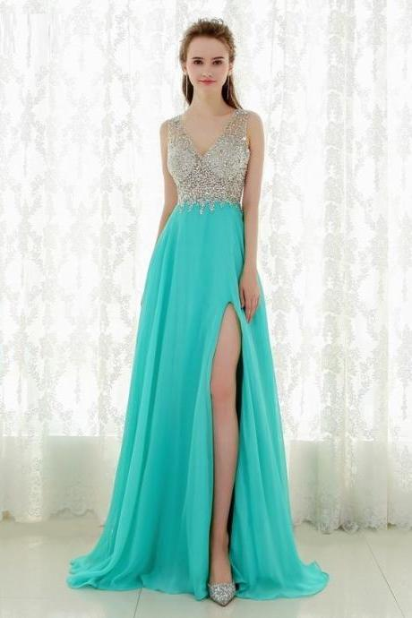 Fantastic Crystal Beads Sequins Top Long Prom Dress Sexy V Back New Evening Dresses Party Dresses DH22