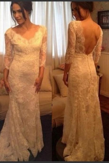 Elegant White Ivory lace Wedding Dresses,Backless Wedding Gowns,Long Bridal Gown,Sexy V Neck Wedding Dress,Custom Made wedding dresses WD138
