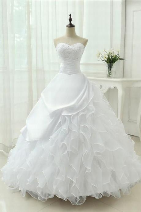 Strapless Sweetheart Ruched Princess Ball Wedding Dress Featuring Ruffled Skirt